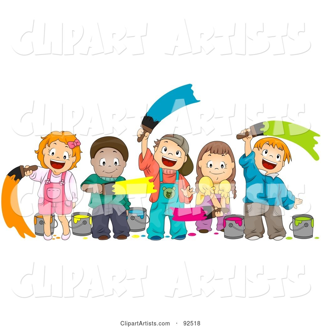Group of Happy Diverse Children Painting with Different Colors