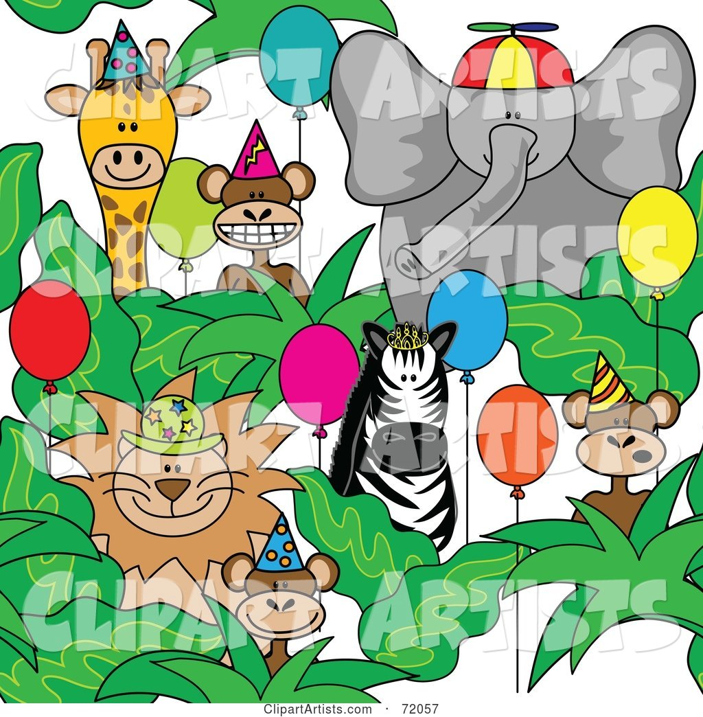 Group of Party Animals with Hats and Balloons
