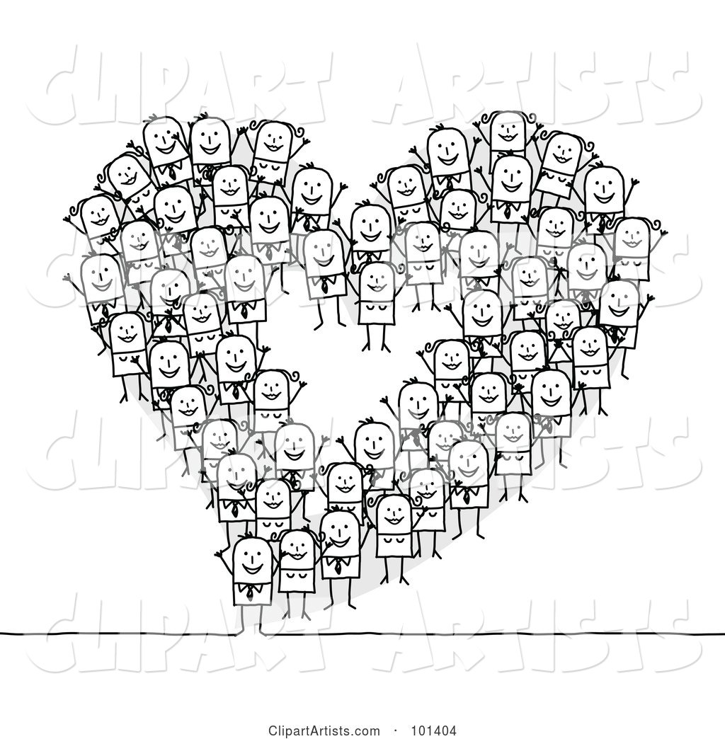 Group of Stick People Making a Heart Outline