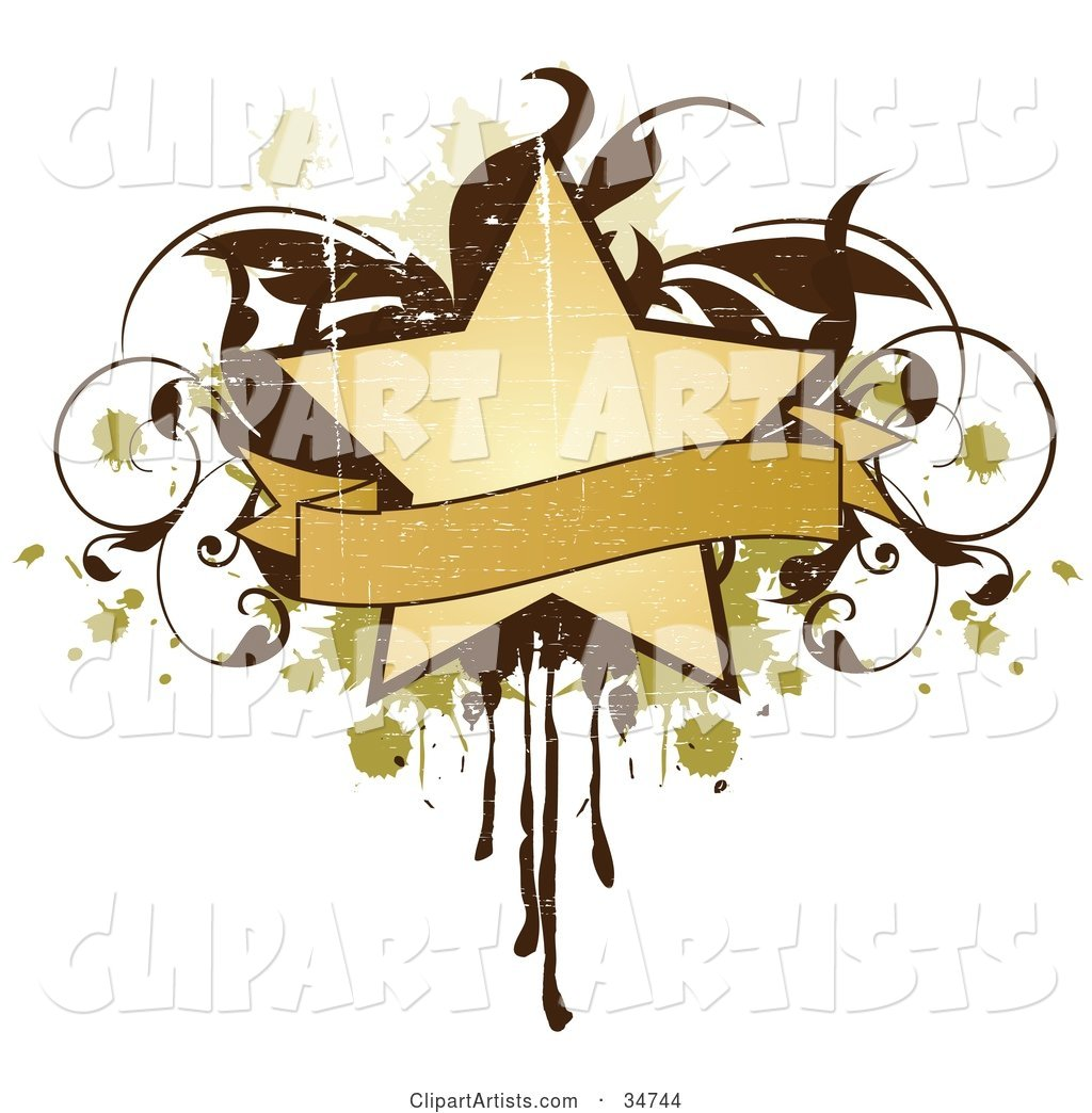 Grungy Beige Star and Blank Banner over a Brown Vine and Green and Beige Splatters and Drips