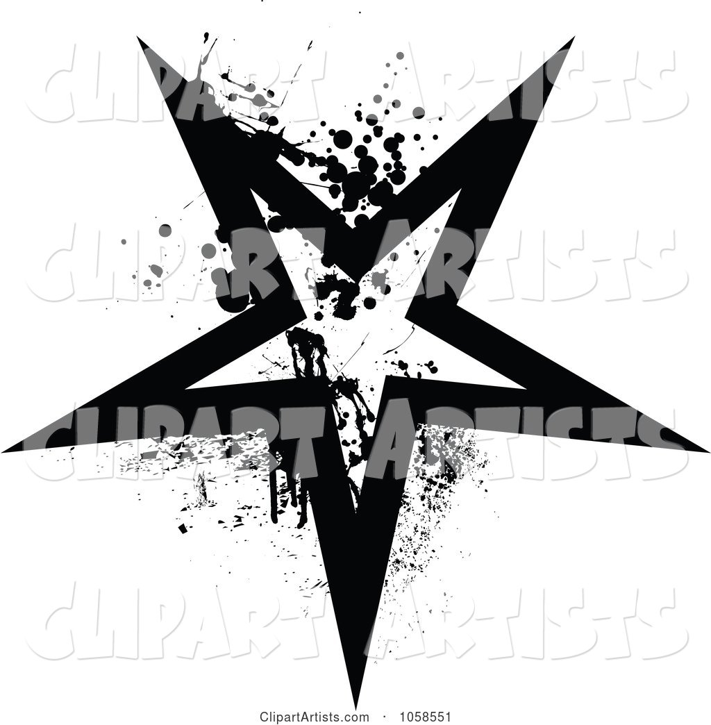 Grungy Black and White Star Logo - 3