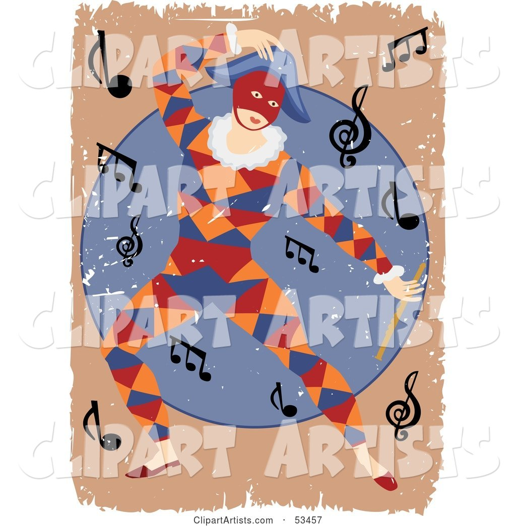 Grungy Masked Entertainer Dancing Around Music Notes
