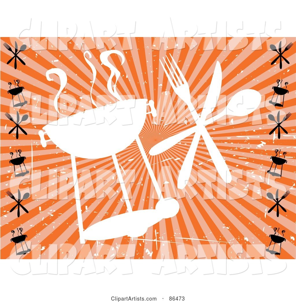 Grungy Retro Styled White Barbeque Silhouette with Silverware over Orange