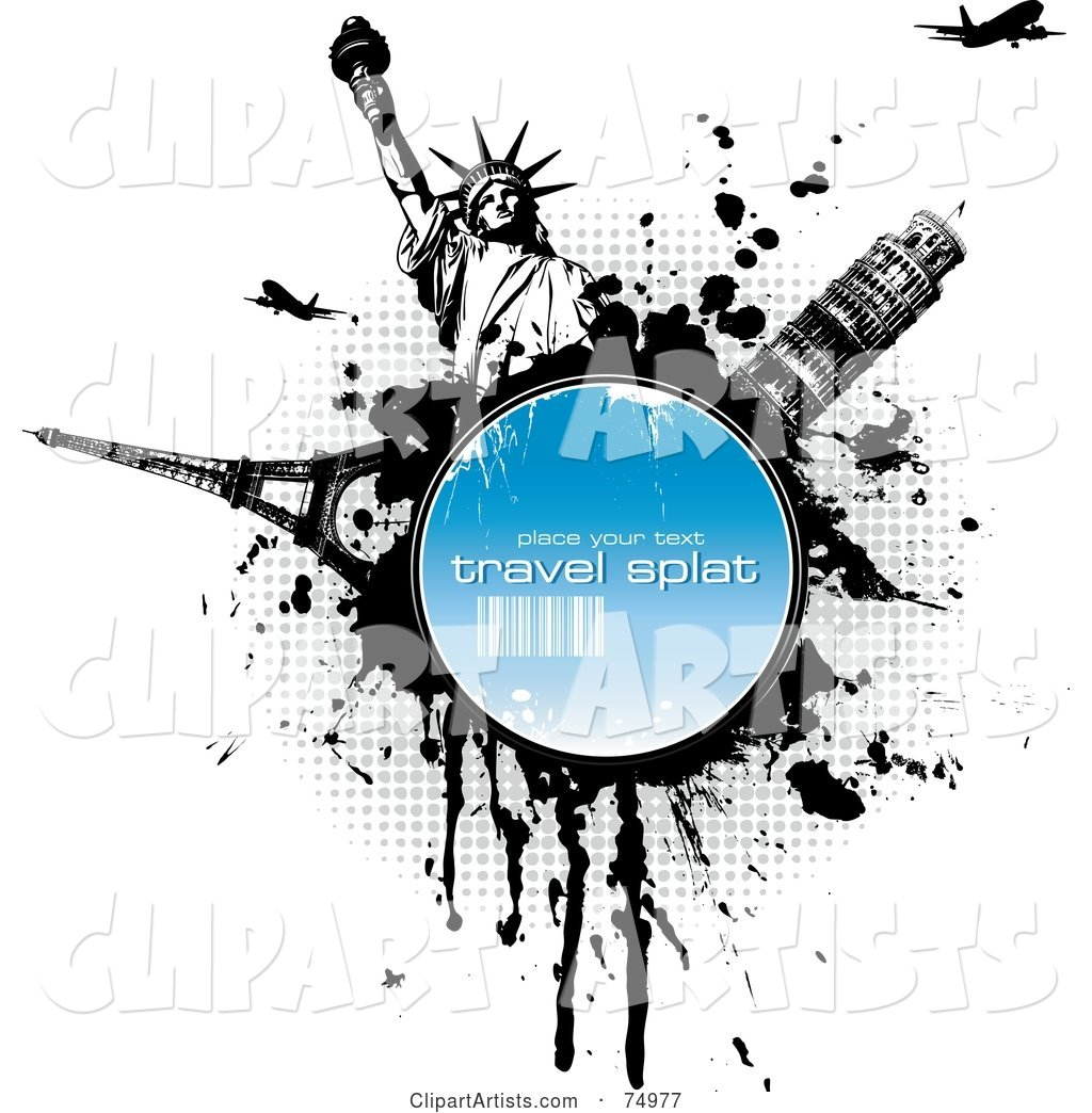 Grungy Splatter Circle with the Eiffel Tower, Tower of Pisa, Statue of Liberty and Planes over Halftone and White