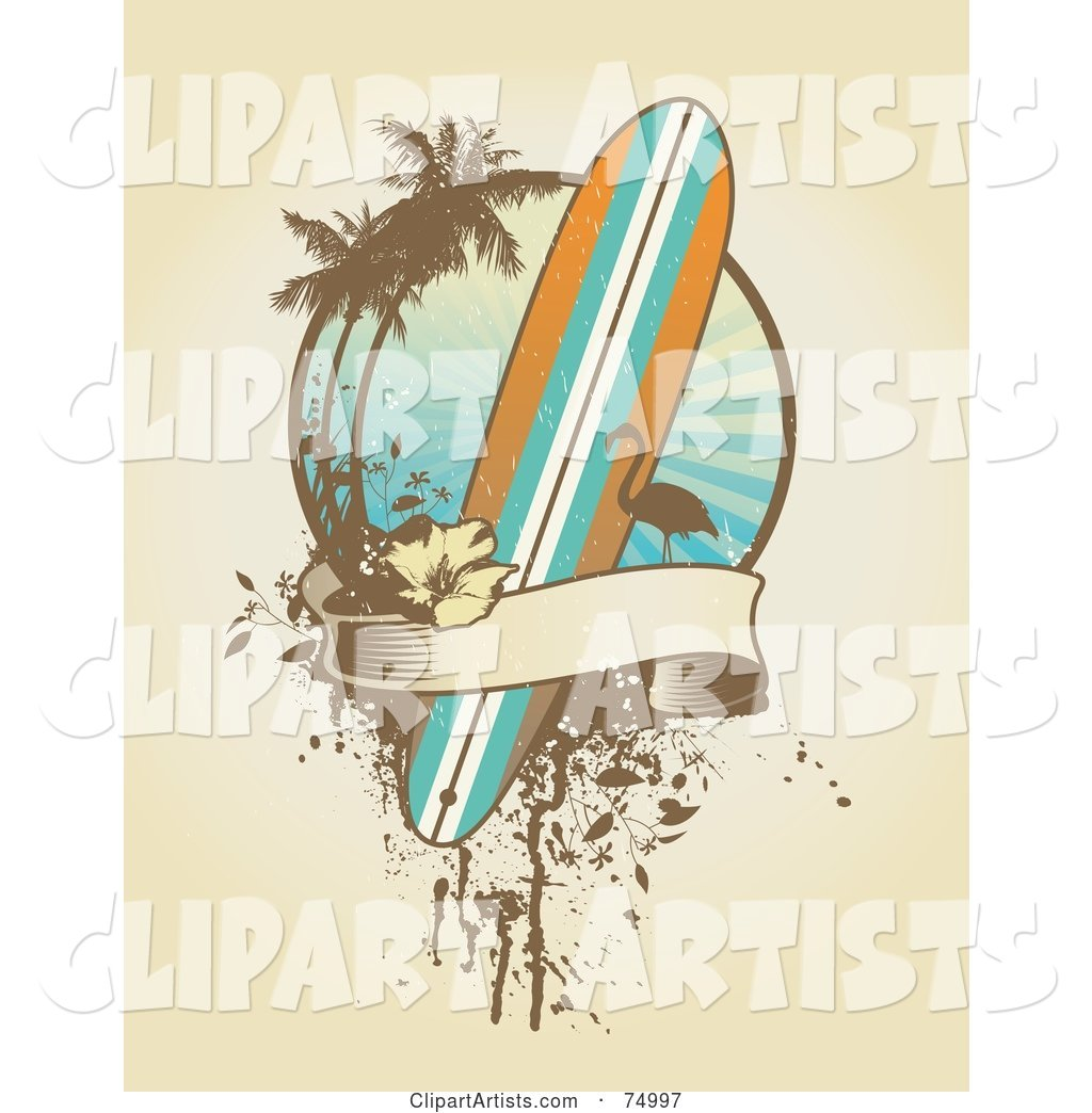 Grungy Surfboard, Flamingo, Palm Tree and Banner Design Background