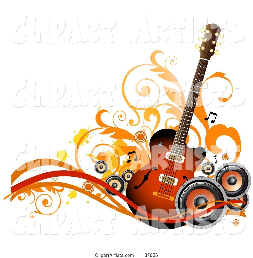 Guitar with Orange and Black Speakers, Waves, Vines and Splatters