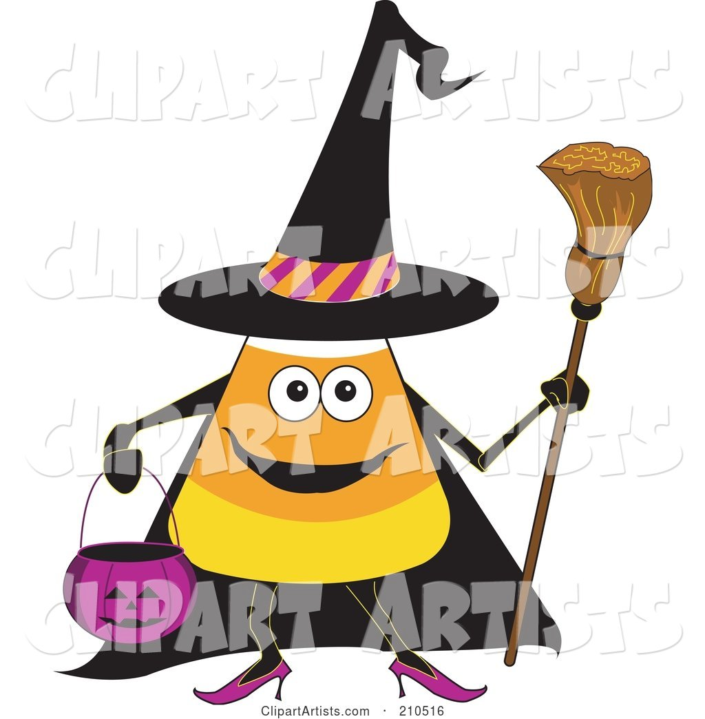 Halloween Candy Corn in a Witch Costume