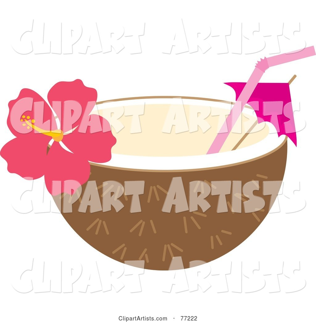 Halved Coconut With A Straw Umbrella And Hibiscus Flower Clipart By