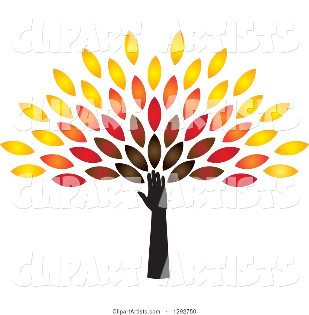 Hand and Arm Forming the Trunk of a Tree with Colorful Autumn Leaves