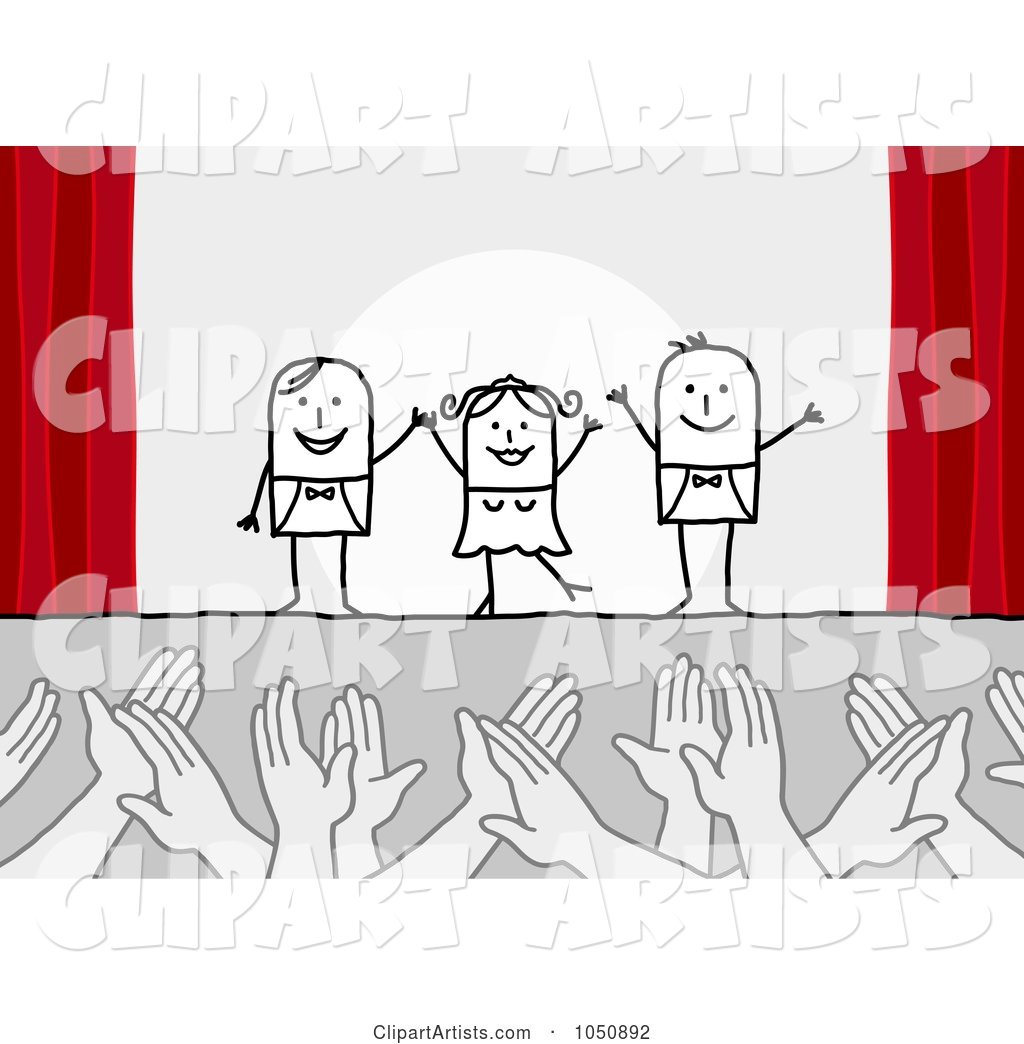 Hands Applauding Stick Actors on Stage