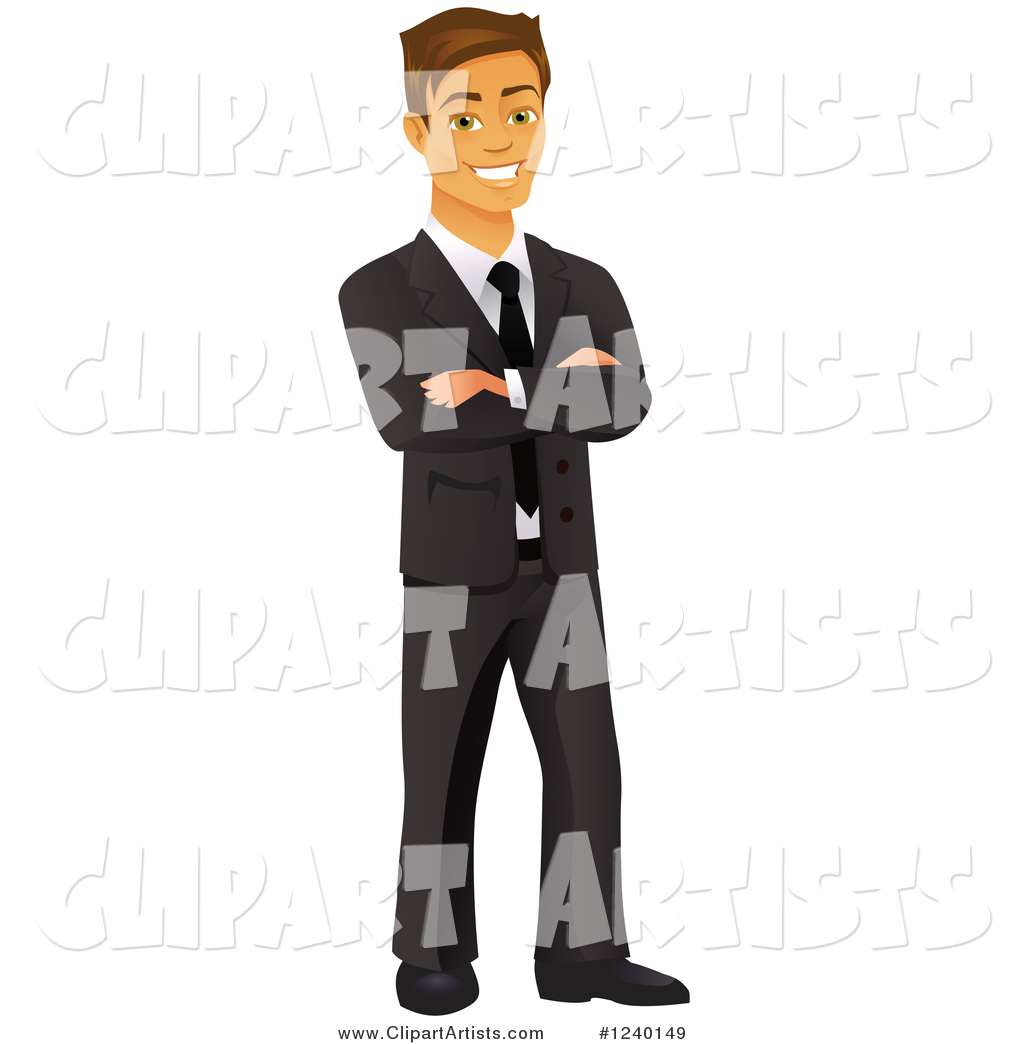 Handsome Caucasian Businessman with Folded Arms