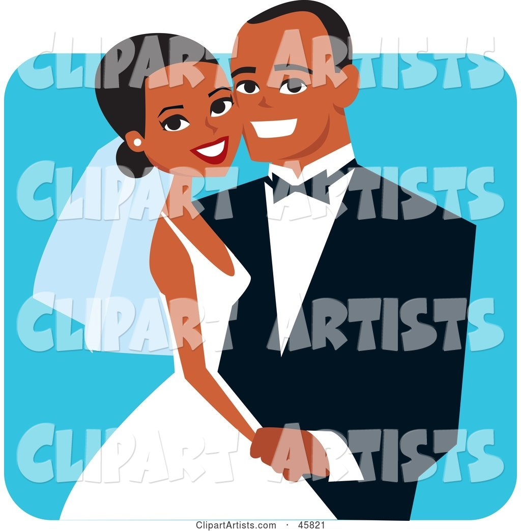 Happy African American Bride and Groom Posing for a Portrait