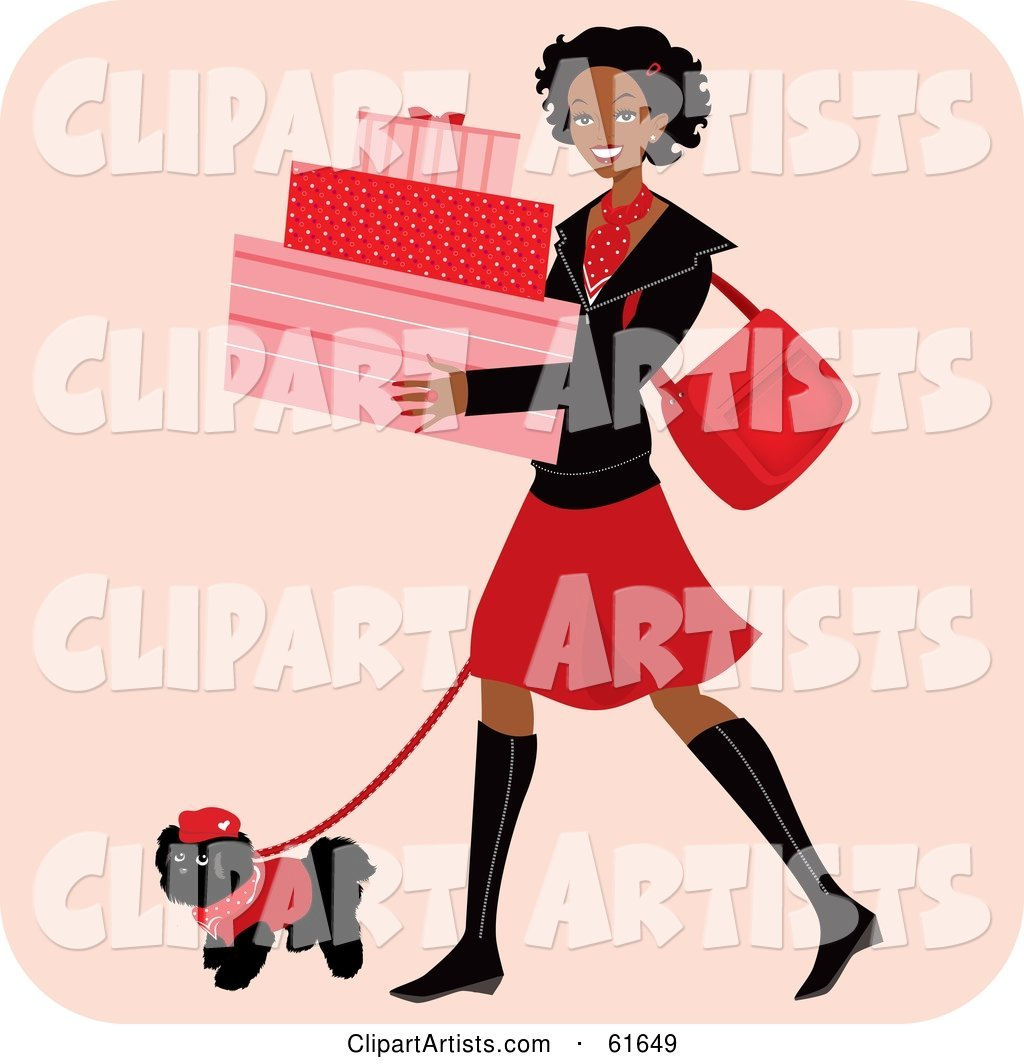Happy African American Woman Carrying Boxes and Walking Her Dog While Shopping
