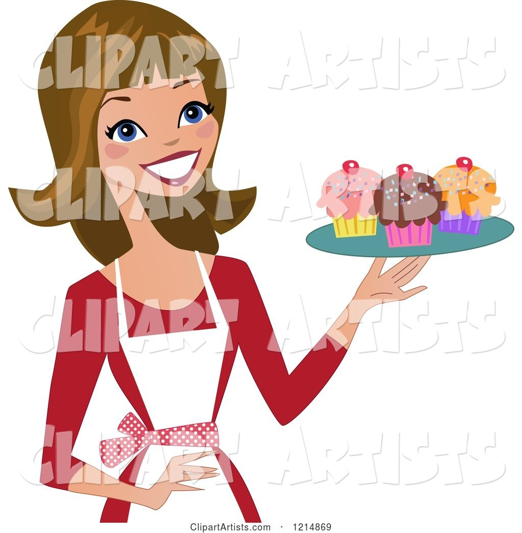 Happy Baker Woman Holding a Tray of Cupcakes