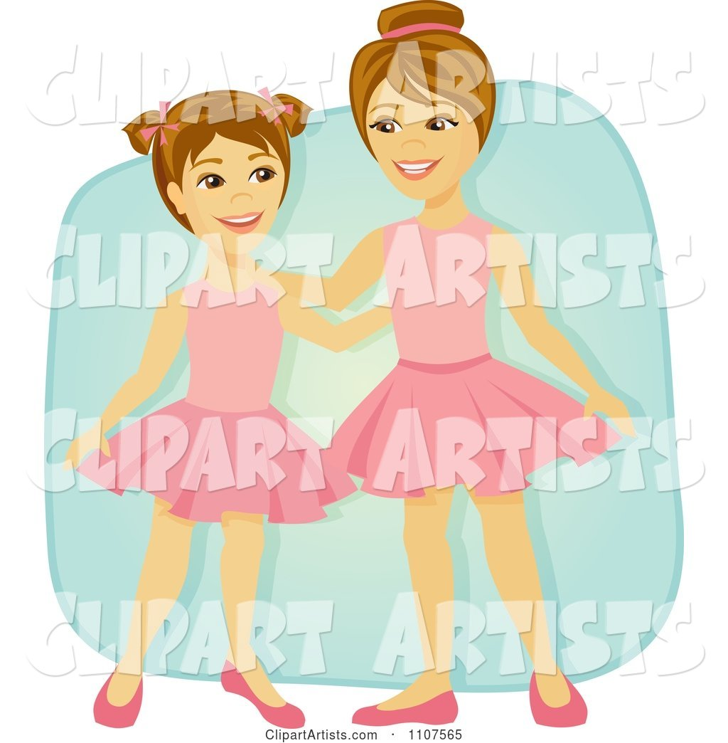 Happy Ballerina Sisters in Tutus over Blue