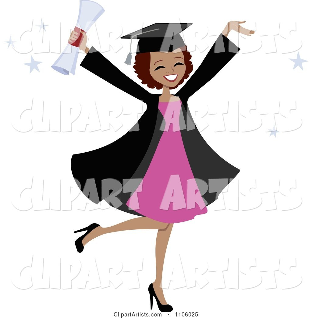 Happy Black College Graduate Woman Holding Her Arms up and Her Degree