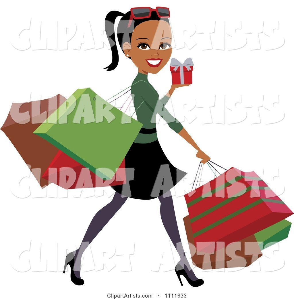 Happy Black Woman Carrying Bags and Christmas Shopping