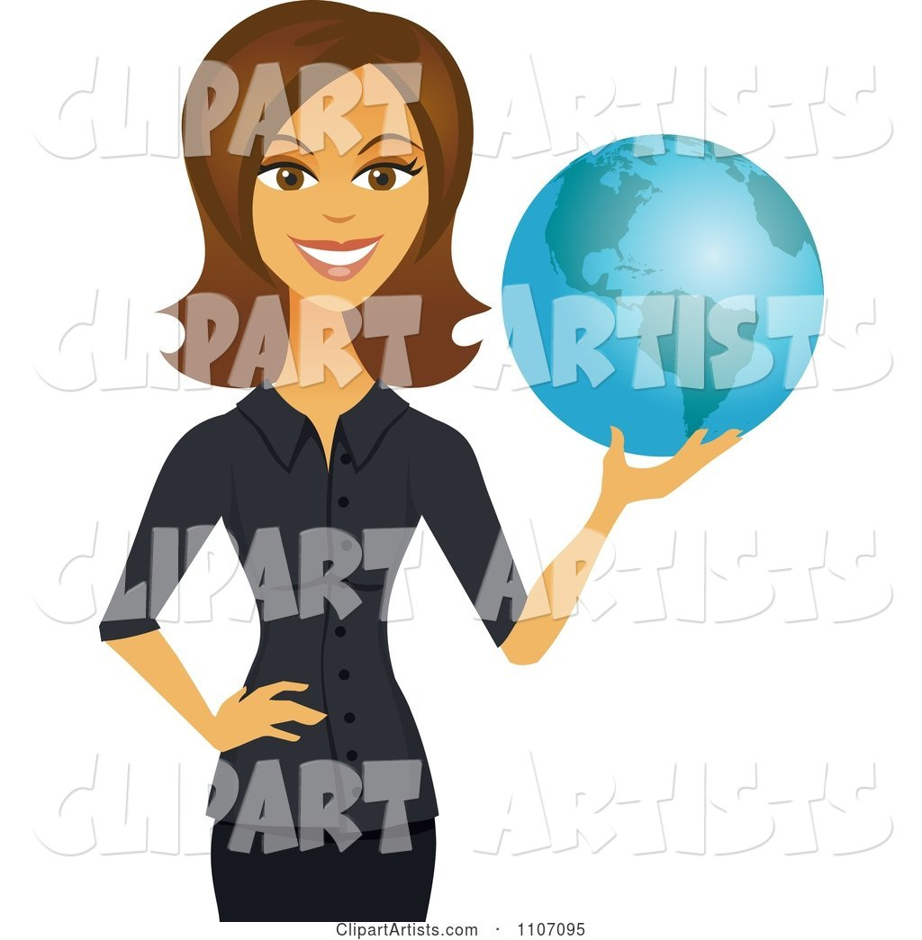 Happy Brunette Businesswoman Holding a Globe