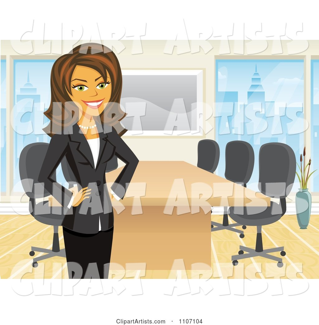 Happy Brunette Businesswoman Standing by a Meeting Table in an Office