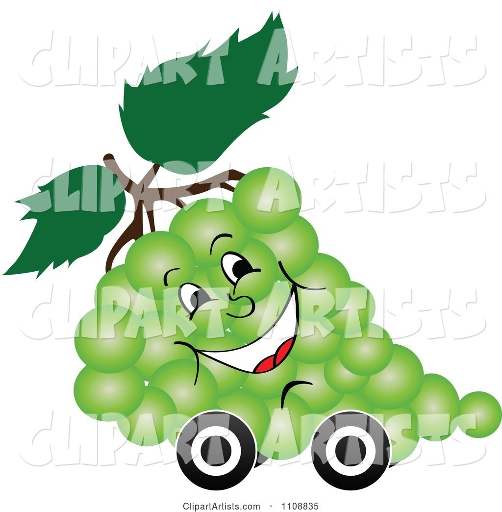 Happy Bunch of Green Grapes on Wheels