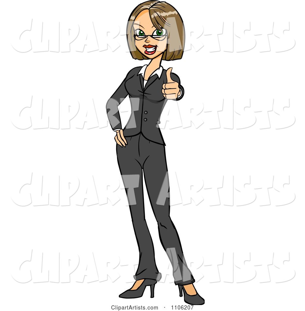 Happy Business Woman Holding a Thumb up