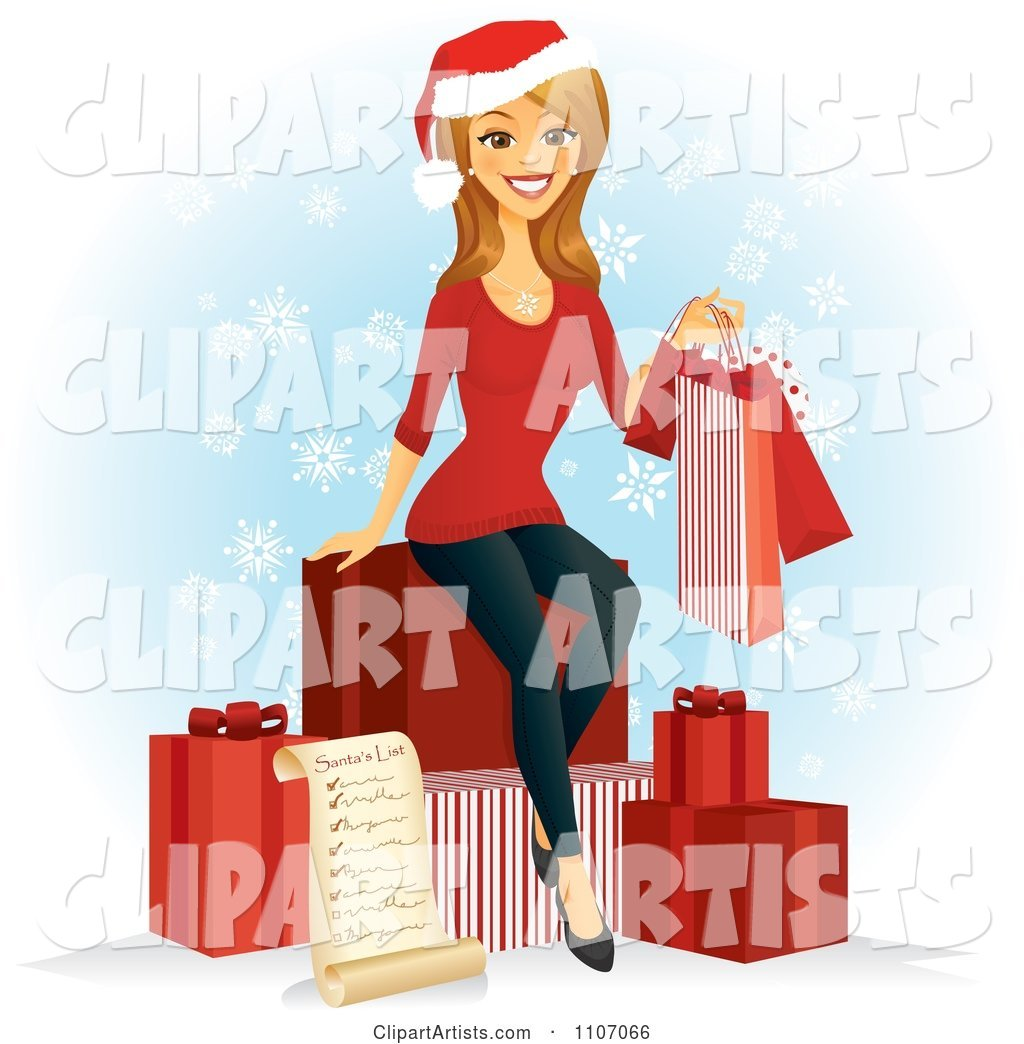 Happy Caucasian Woman with a Christmas Shopping List Bags and Gifts over Snowflakes