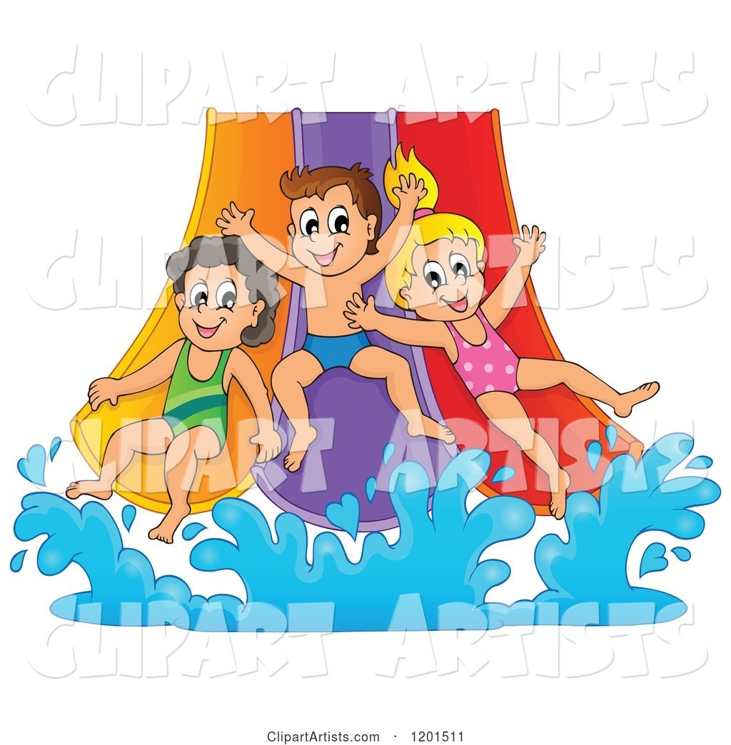Happy Children Going down a Water Park Slide