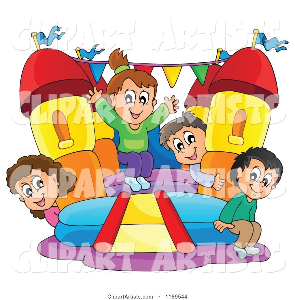 Happy Children Playing on a Bouncy House Castle