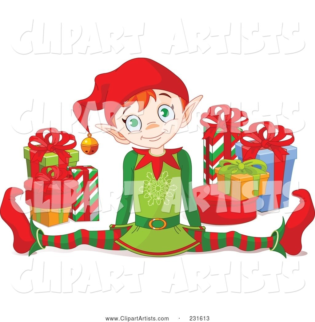 Happy Christmas Elf Doing the Splits by Gifts