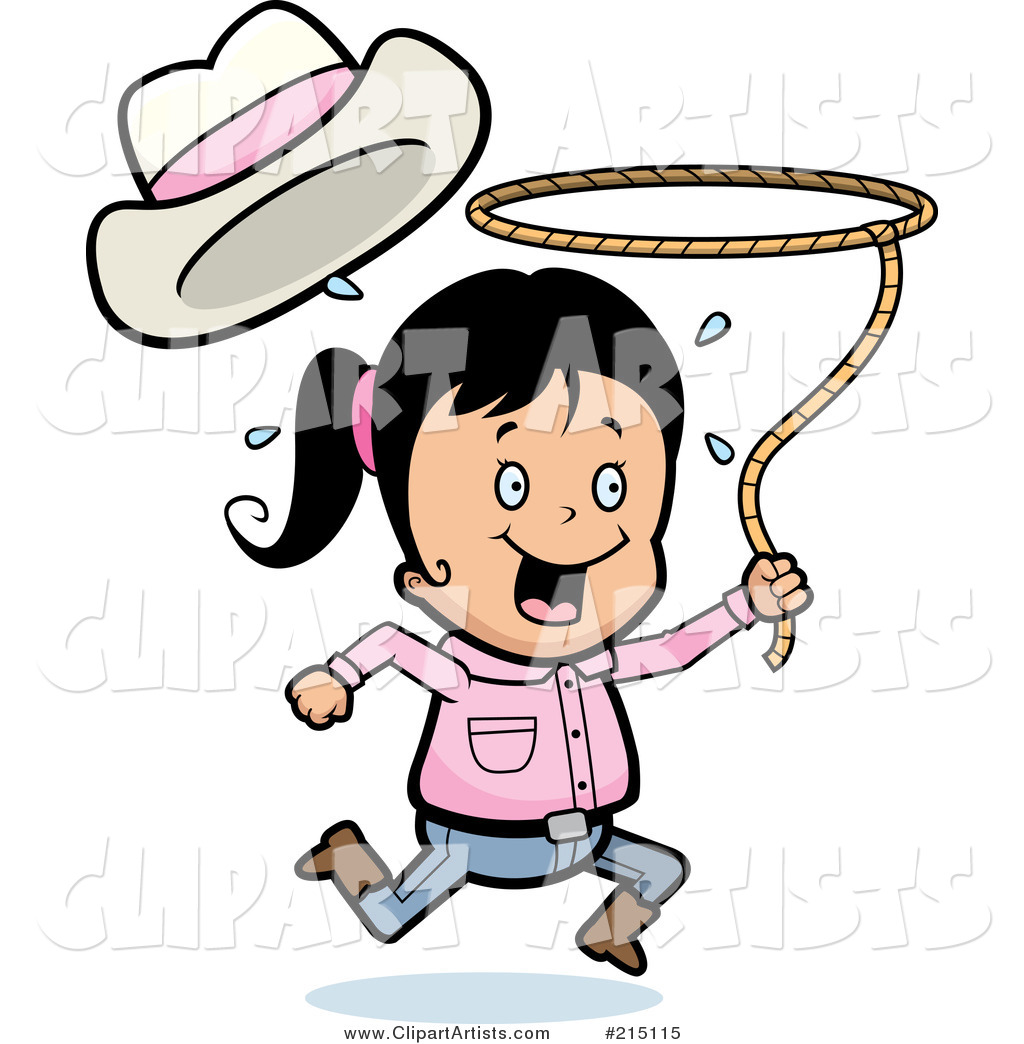 Happy Cowgirl Running and Swinging a Lasso