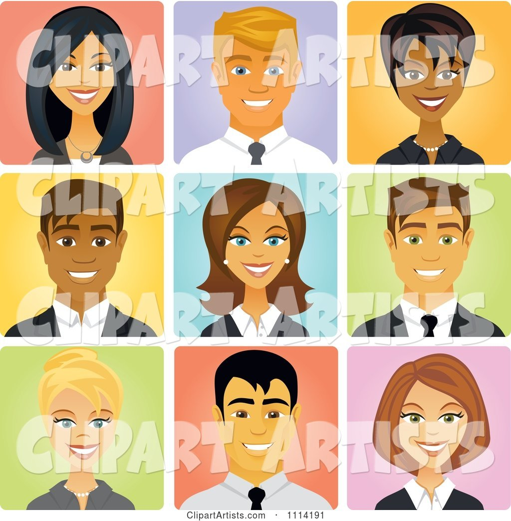 Happy Diverse Business People Avatars