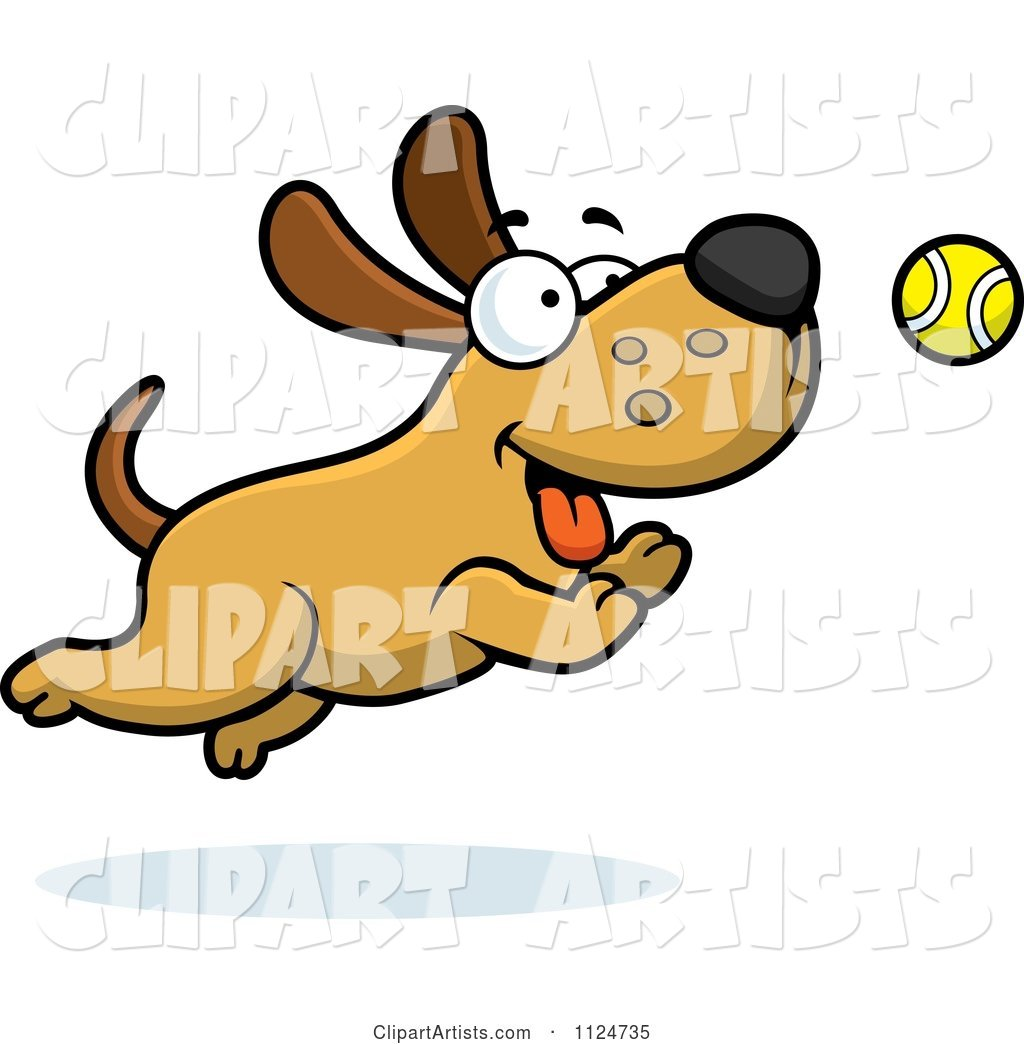 Happy Dog Chasing a Tennis Ball