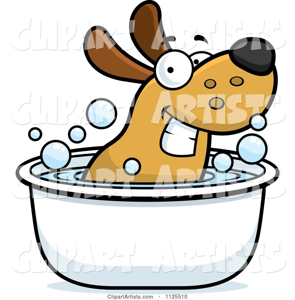 Happy Dog Soaking in a Tub
