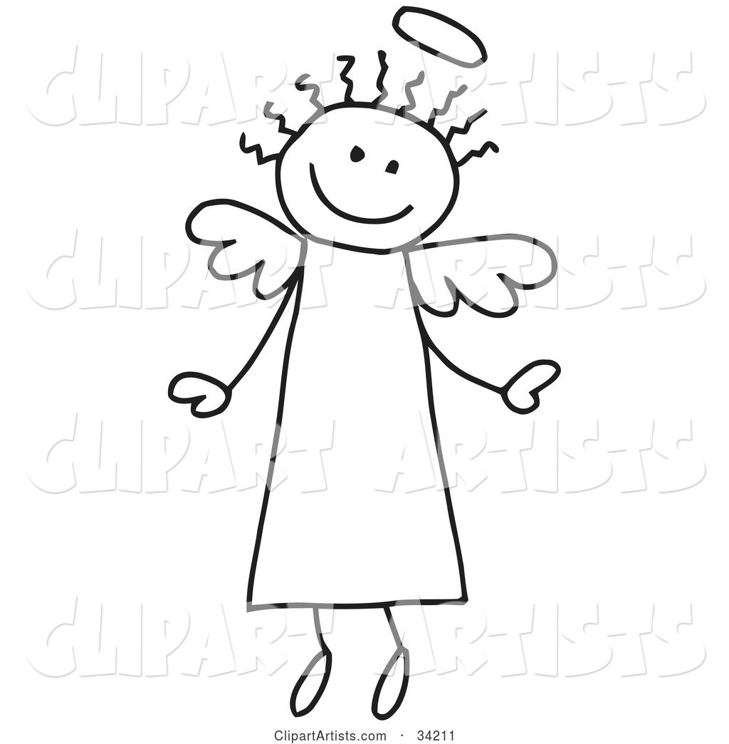 Happy Flying Stick Angel with Hair and a Halo