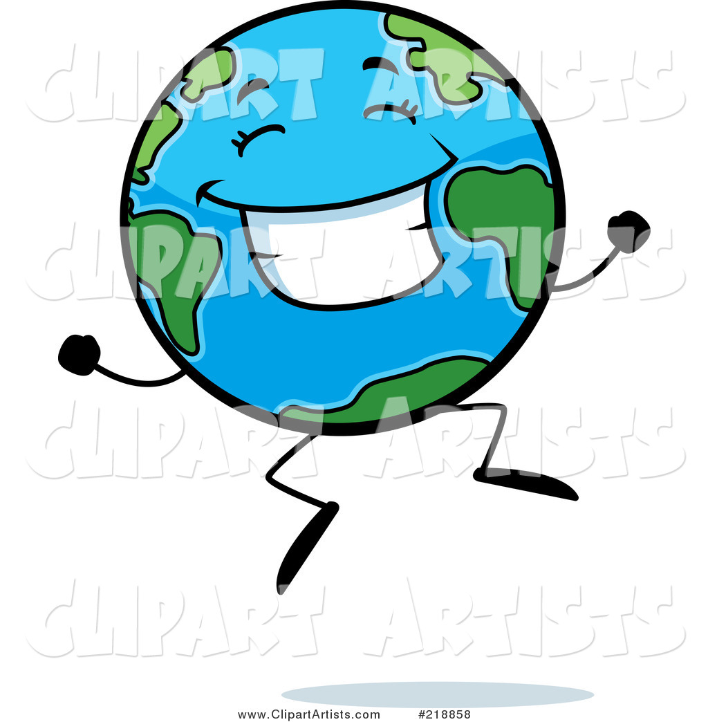 Happy Globe Character Jumping