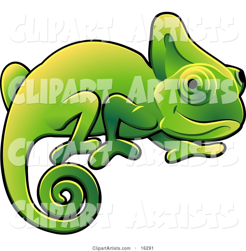 Happy Green Chameleon Lizard with a Curled Tail Clipart Illustration Image