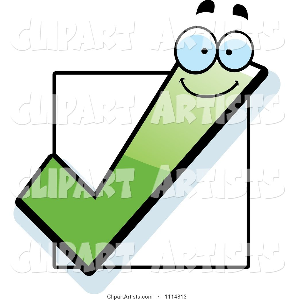 Happy Green Check Mark over a Box