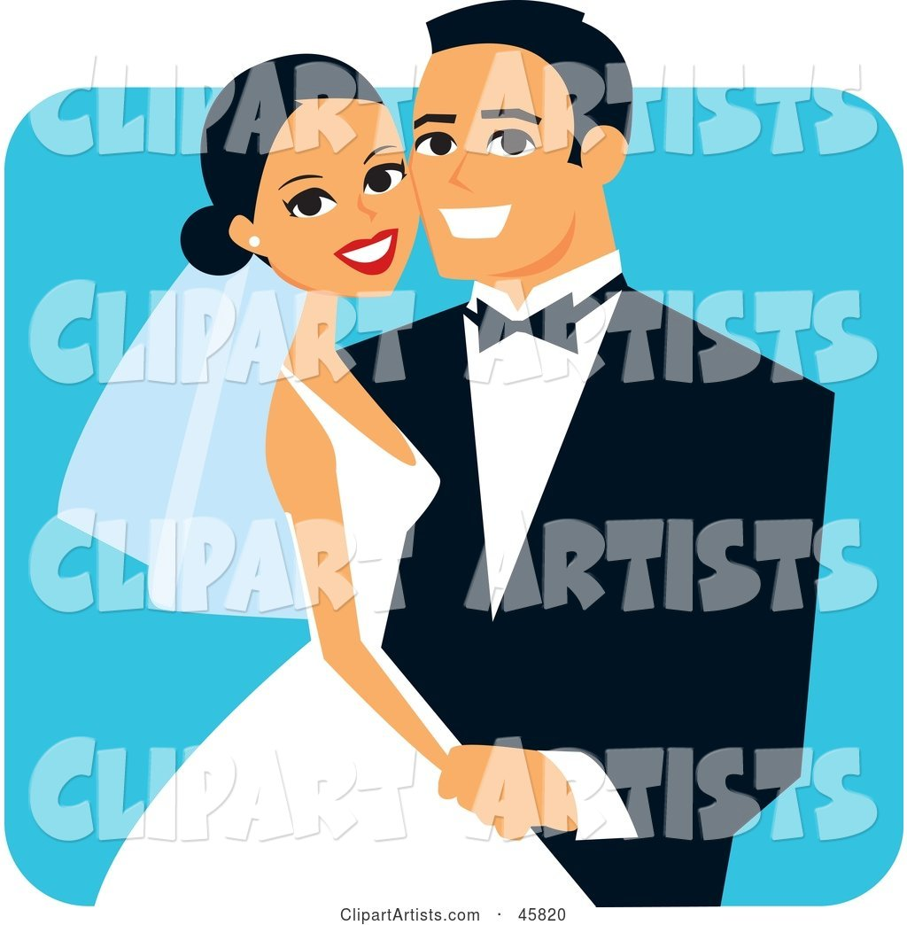 Happy Hispanic Bride and Groom Posing for a Portrait