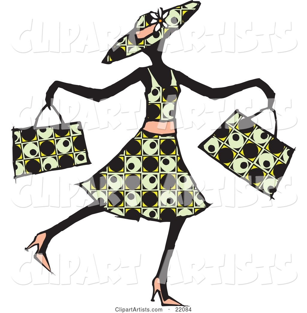 Happy Lady in a Patterned Dress, Hat and Heels, Waltzing past and Carrying Two Shopping Bags
