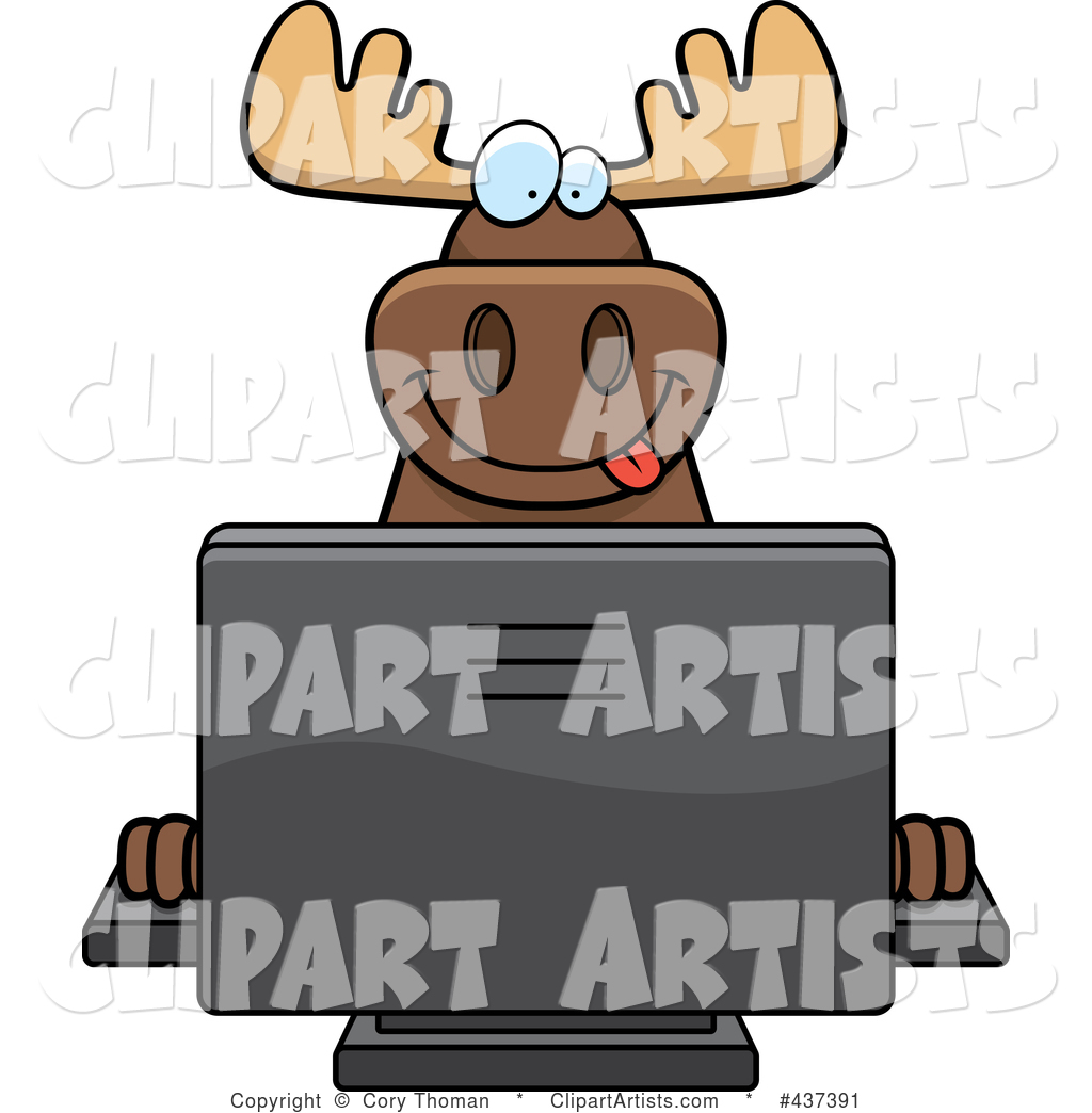 Happy Moose Using a Desktop Computer