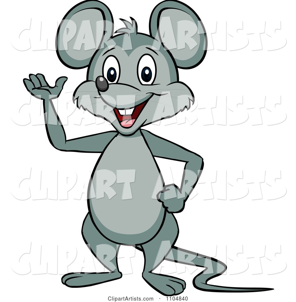 Happy Mouse Waving and Standing Upright
