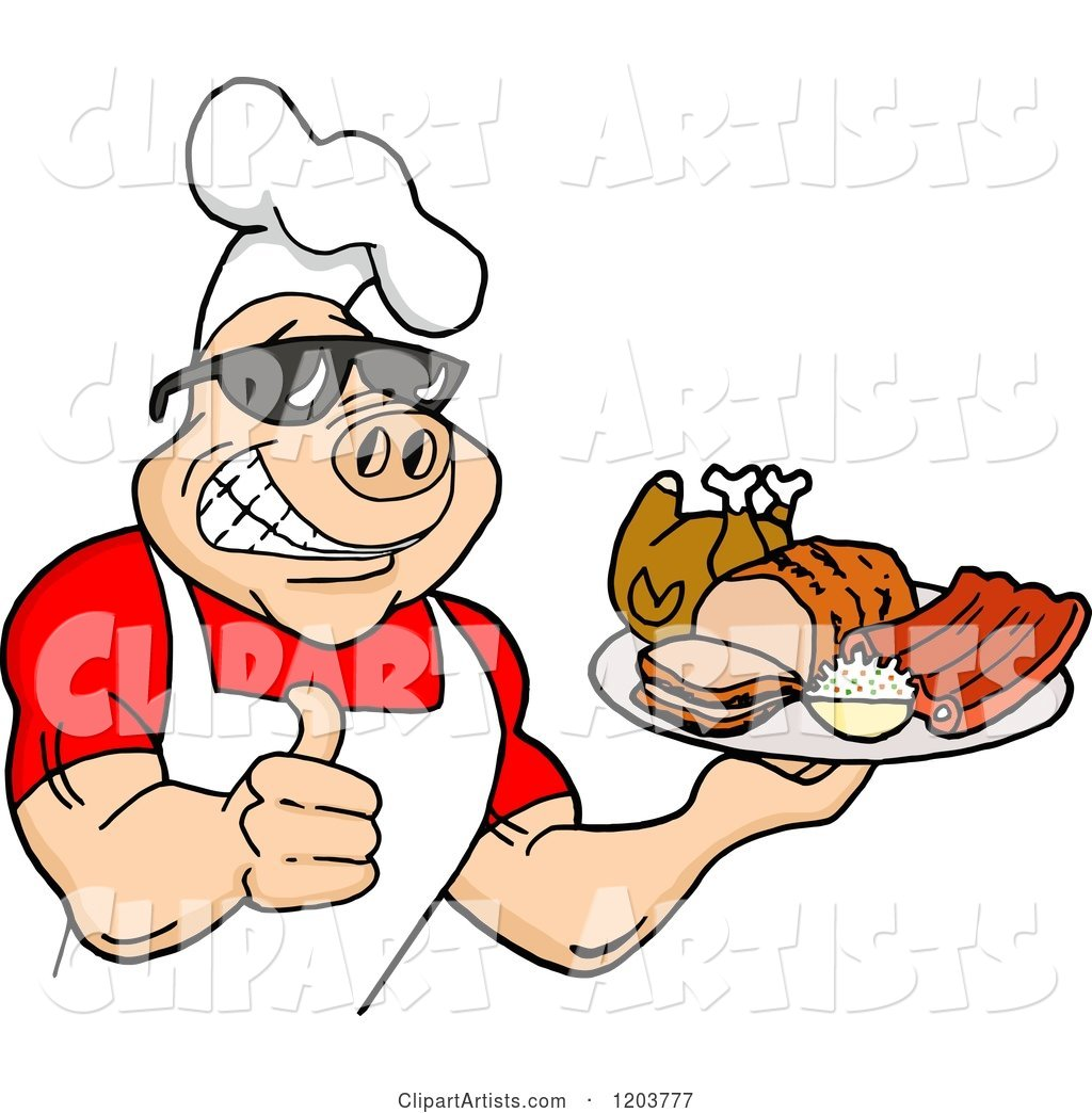 Happy Muscular Chef Pig Wearing a Hat and Sunglasses, Holding a Thumb up and a Plate of Bbq Meats