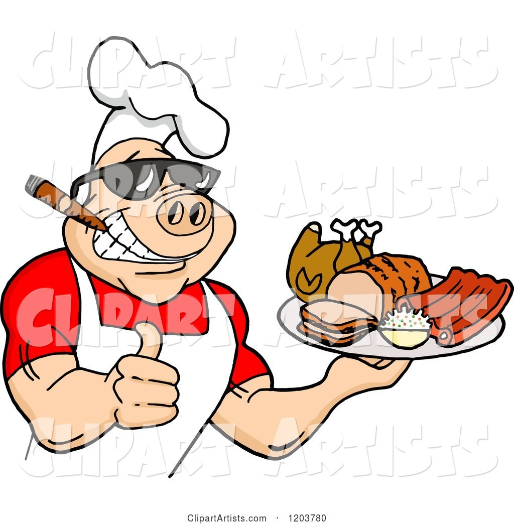 Happy Muscular Chef Pig Wearing a Hat and Sunglasses, Smoking a Cigar, Holding a Thumb up and a Plate of Bbq Meats