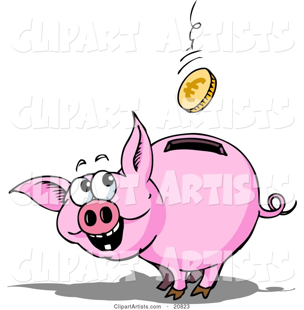 Happy Piggy Bank Watching a Euro Coin Fall into the Slot in Its Back