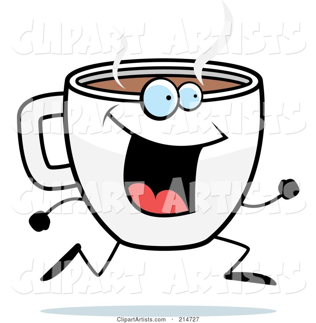 Happy Running Coffee Cup Character