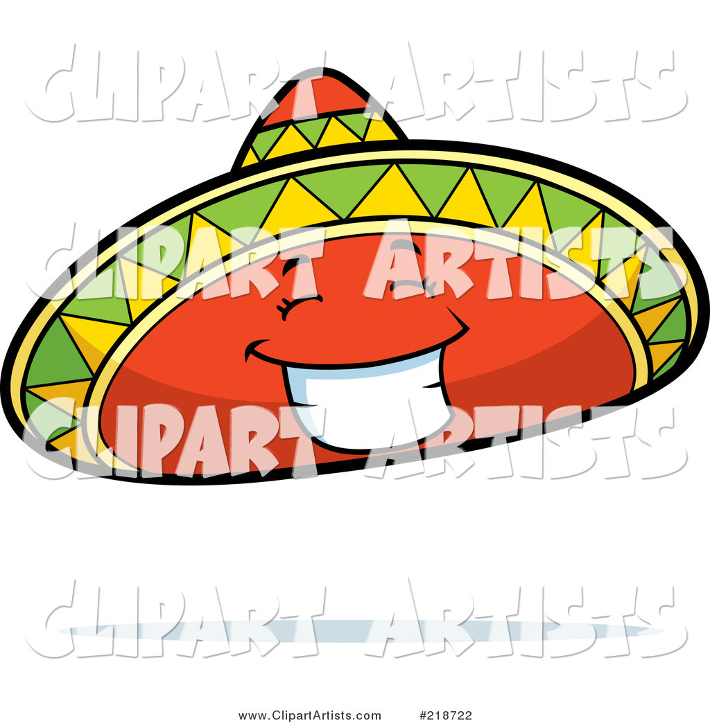 Happy Sombrero Hat Character Smiling