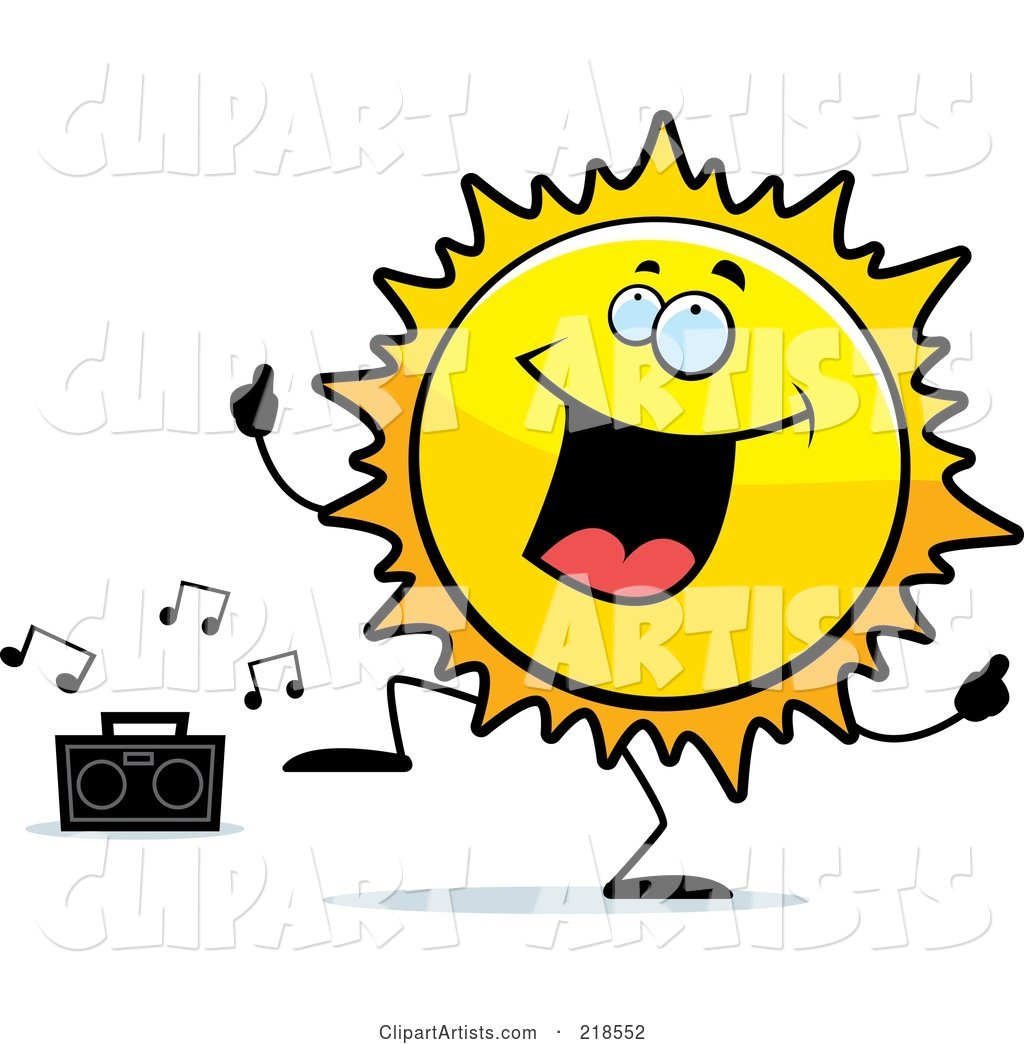 Happy Sun Character Dancing to Music