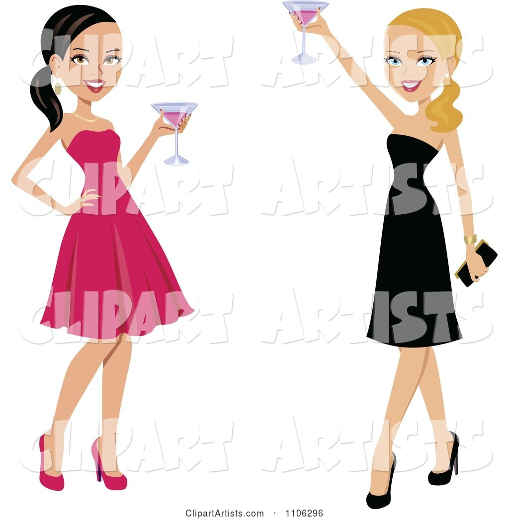 Happy Toasting Ladies in Black and Pink Dresses