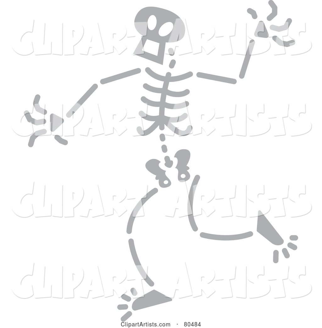 Happy Walking Gray Skeleton
