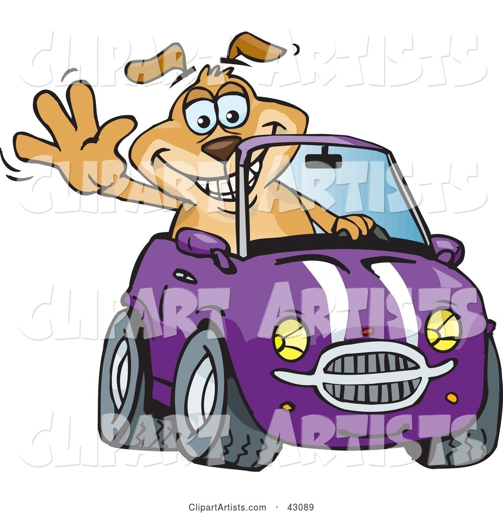 Happy Waving Dog Driving a Purple Convertible Car